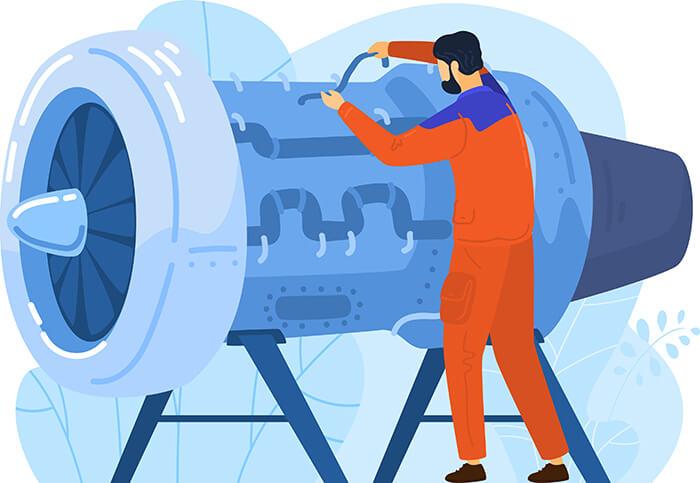 エンジンを整備するエンジニア