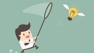アイデアを追いかけるビジネスマン